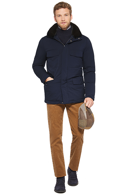 FIELD JACKET CON PELLICCIA ECO, Navy, medium