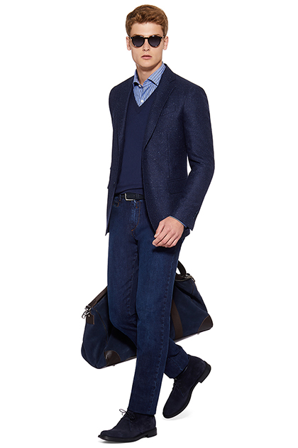FALSE PLAIN JACKET - WOOL AND SILK - MADE IN ITALY, Blue, medium