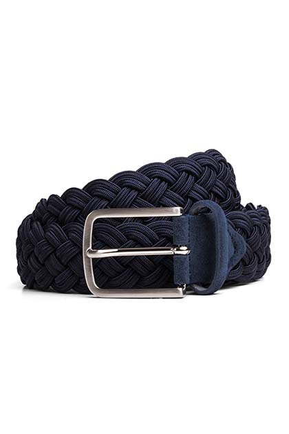 STRETCH WOVEN BELT, Navy, medium