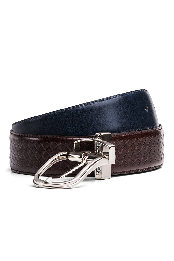 REVERSIBLE TEXTURED LEATHER BELT, NAVY - DARK BROWN, large