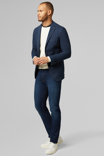 BLAZER NAVY BRESCIA IN COTONE STRETCH, NAVY, medium