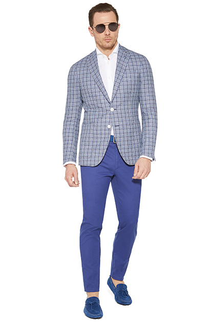 PATTERNED SLUB WOOL JACKET, Bluette, medium