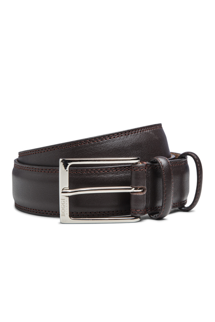 BROWN BELT WITH NUBUCK LINING, Dark Brown, medium