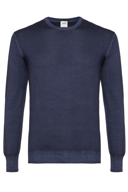 STONEWASH MERINO ROUND-NECKED JUMPER CUSTOM FIT - MADE IN ITALY, Navy Blue, medium