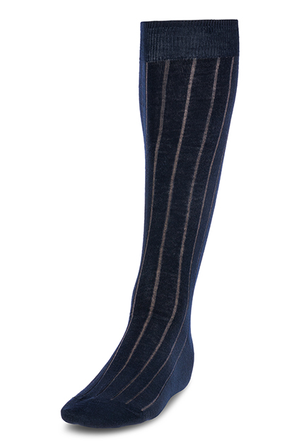 LONG RIBBED COTTON SOCKS - MADE IN ITALY, Navy Blue, medium