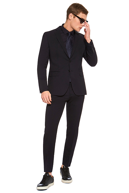MICRO PATTERNED SUIT IN NATURAL STRETCH WOOL, Navy Blue, medium