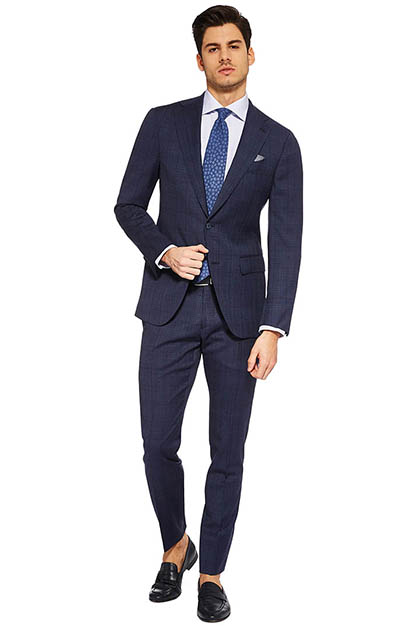 FUSED PRINCE OF WALES CHECK SUIT IN SUPER 110 WOOL, Air Blue, medium