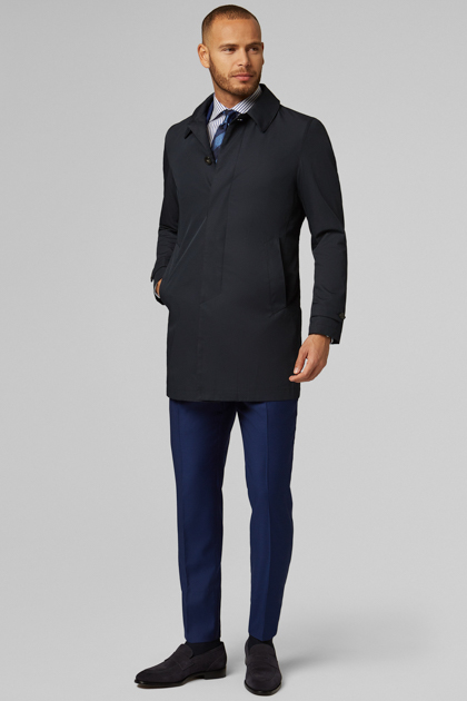 IMPERMEABILE TECNICO IN GABARDINA LEGGERA, NAVY, medium