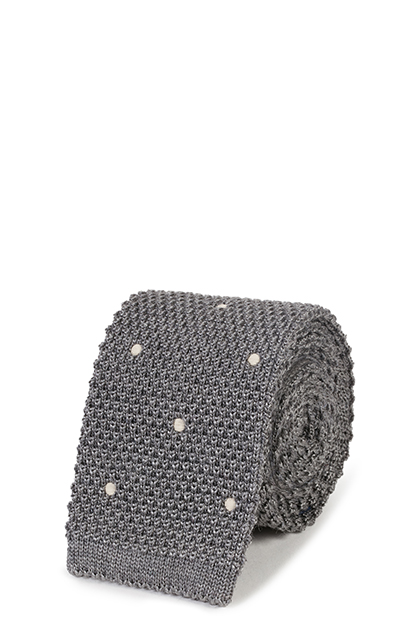 TRICOT A POIS IN LANA E SETA, Grigio, medium
