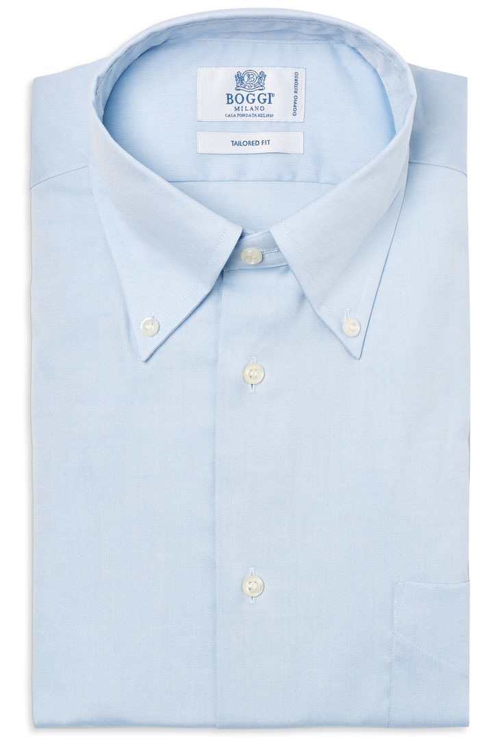 31a96175af4a49 TWO PLY BUTTON DOWN COLLAR PIN POINT COTTON SHIRT, Light Blue, large