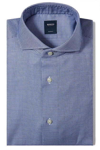 CAMICIA IN COTONE OPERATO COLLO NAPOLI TAILORED FIT, Blu, medium