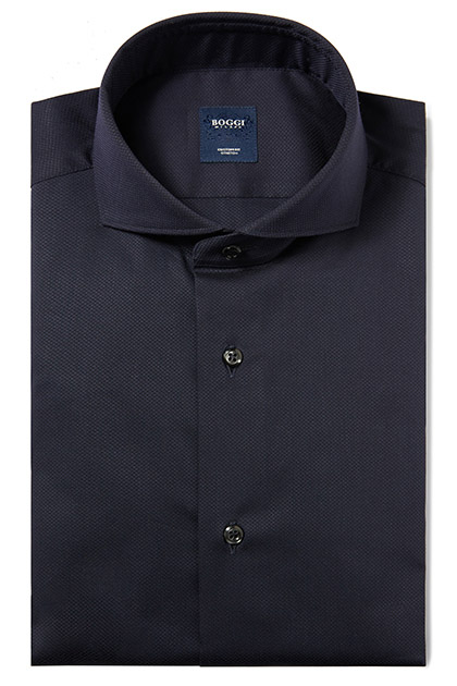 CAMICIA IN COTONE OPERATO COLLO NAPOLI CUSTOM FIT, Navy, medium