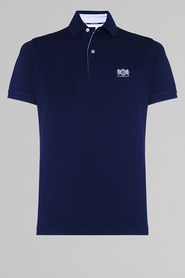 POLO BLU IN COTONE PIQUET, NAVY, large