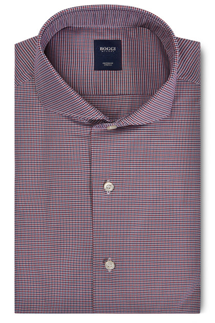 CUSTOM FIT BLUE/BURGUNDY SHIRT WITH NAPLES COLLAR, Blue - Burgundy, medium