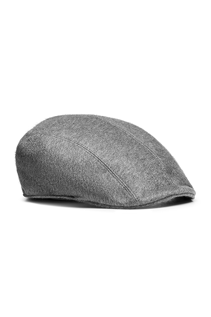 SHETLAND PURE CASHMERE FLAT CAP - MADE IN ITALY, Grey, medium