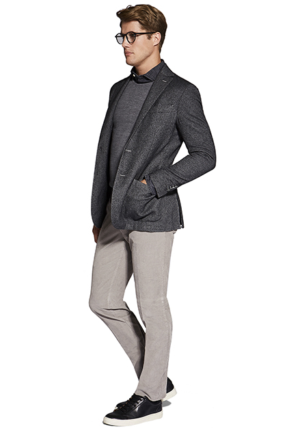 HERRINGBONE JACKET - GARMENT DYED WOOL AND COTTON, Grey, medium