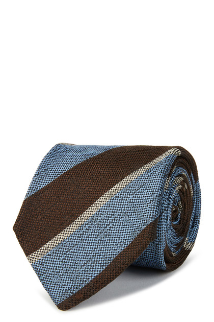 BROKEN SILK REGIMENTAL TIE, Dark Brown - Light blue, medium