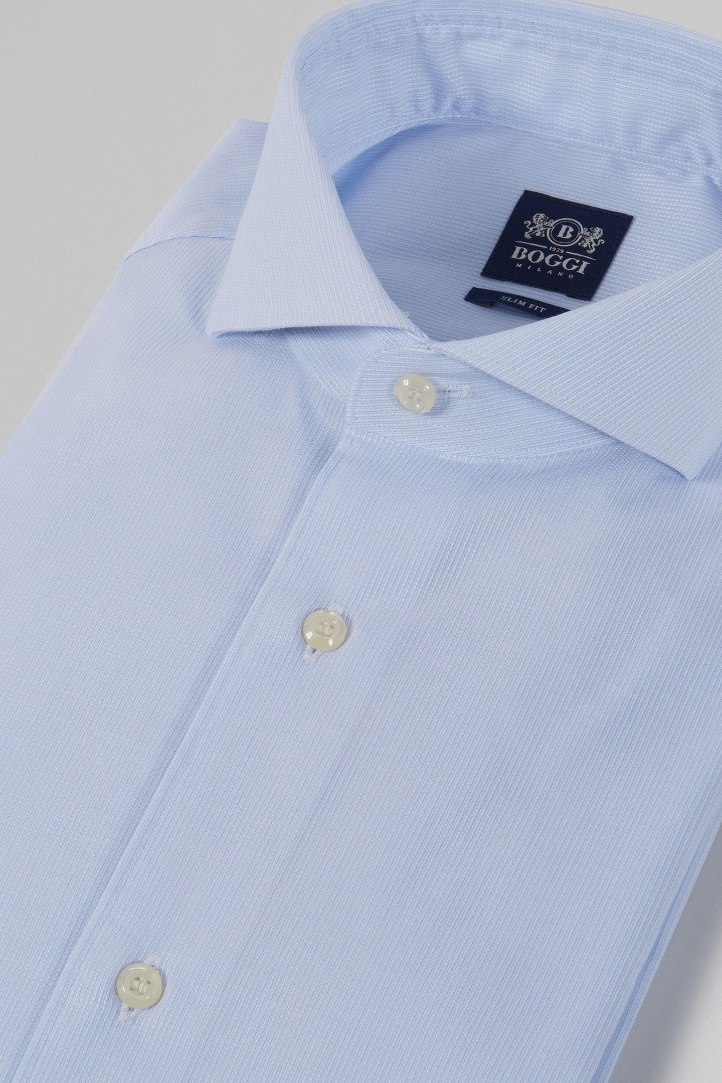 SLIM FIT BLUE SHIRT WITH NAPLES COLLAR, LIGHT BLUE, small ...