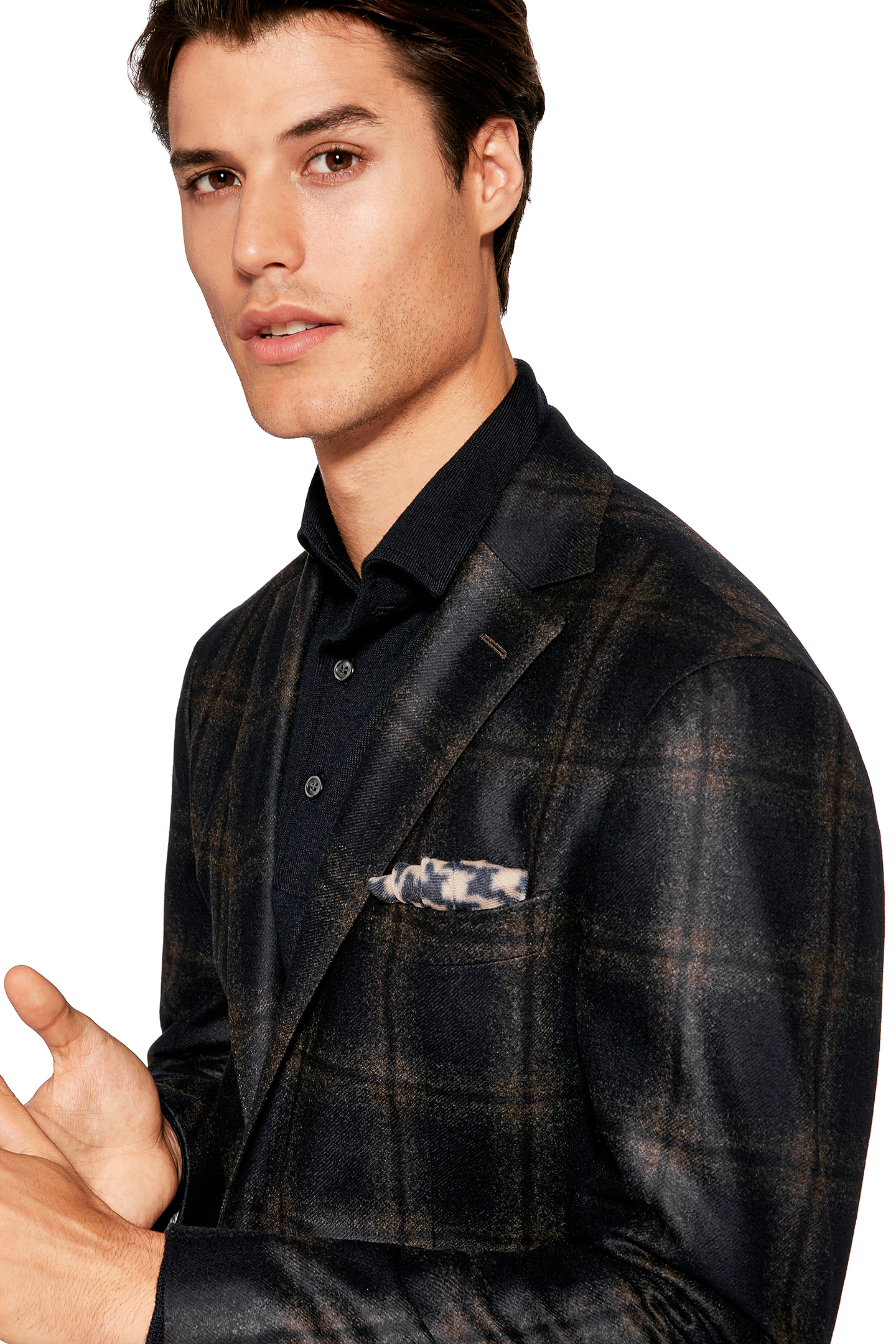 Bold Check Fused Jacket Wool Made In Italy Navy Dark