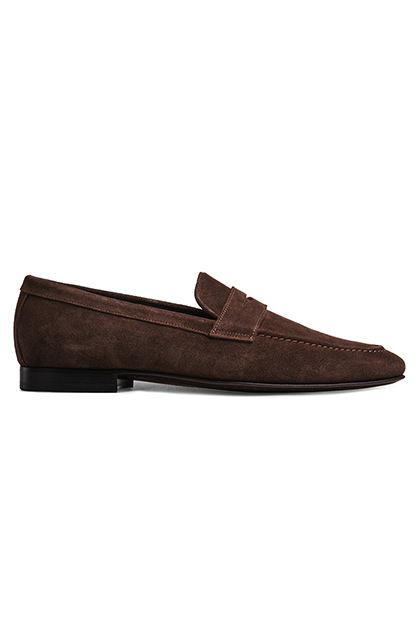 SLIP-ON SUEDE MOCCASINS, Dark Brown, medium