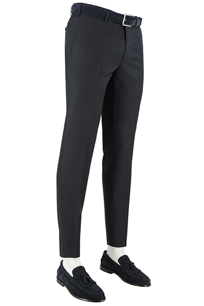 SUPER 100 WOVEN WOOL TROUSERS, Navy Blue, medium