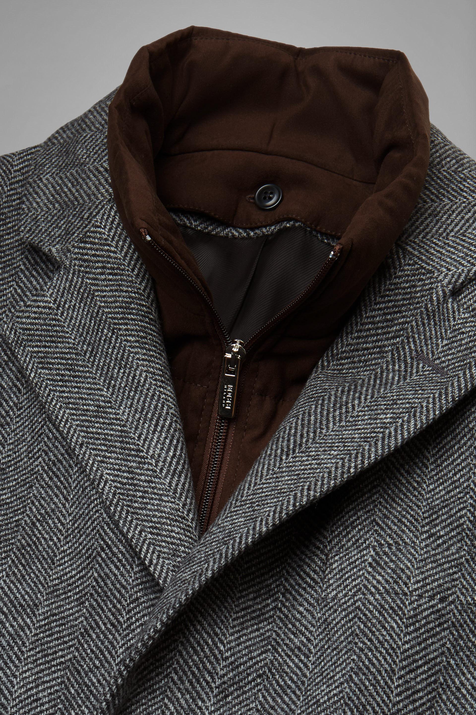 Cappotto in lana spigata imbottito con pettorina