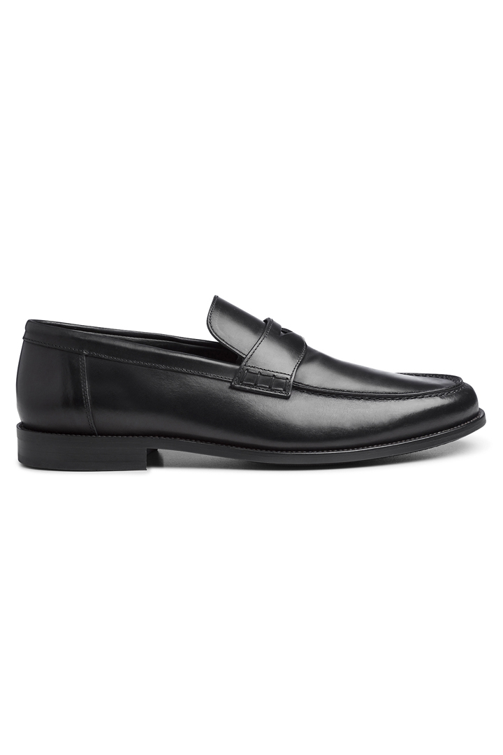 Smooth Leather Loafers With Rubber Soles, Black, large