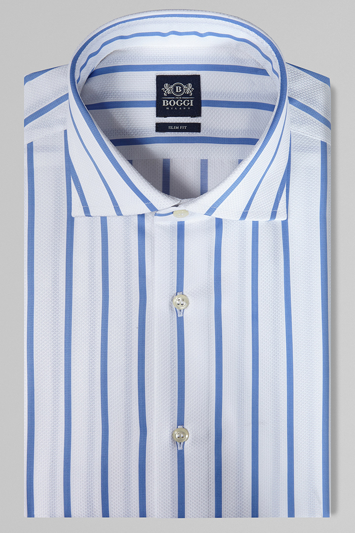 38a824943a2e SLIM FIT SKY BLUE STRIPED SHIRT WITH WINDSOR COLLAR, LIGHT BLUE, large