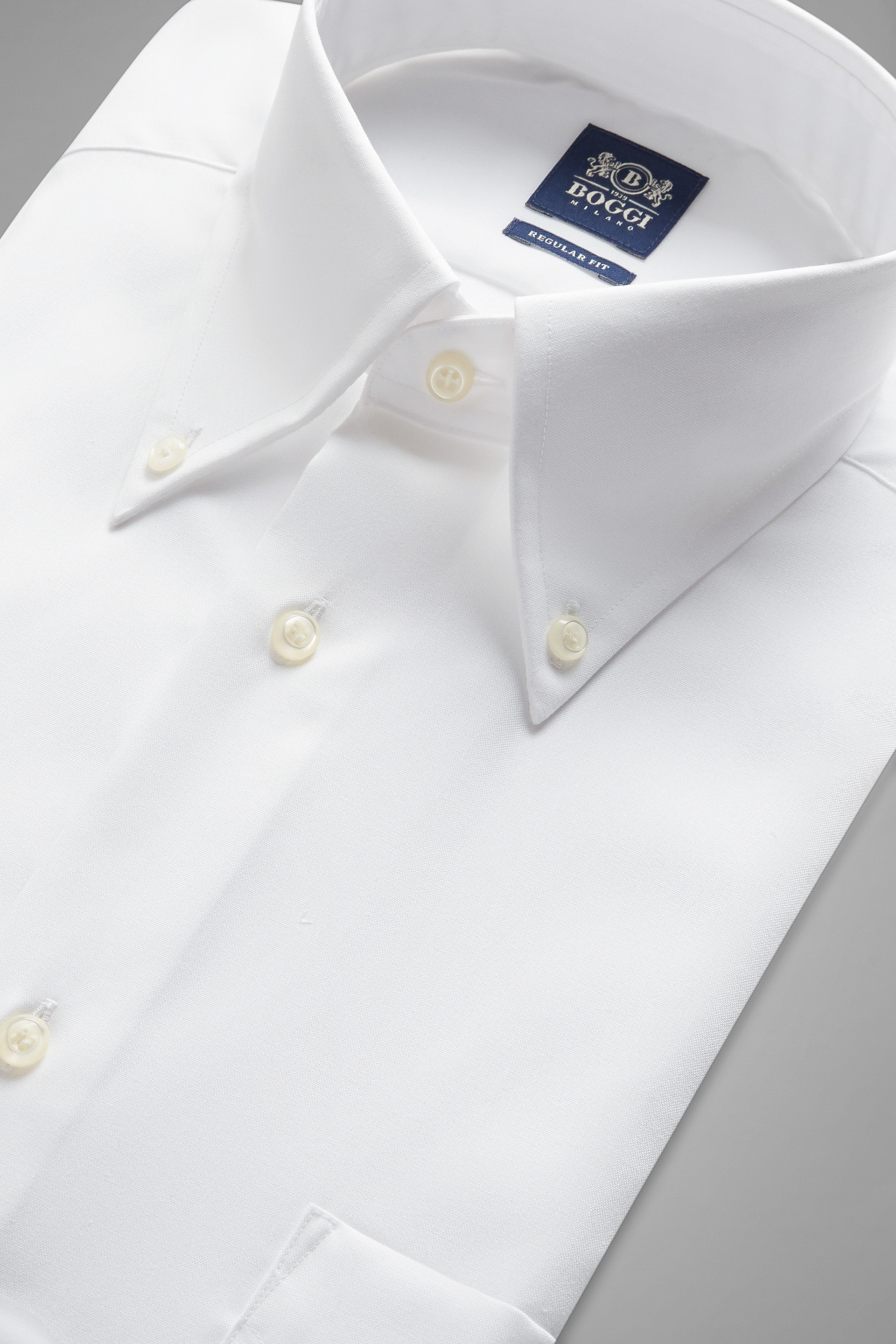 Two ply button down collar pin point cotton shirt white for 2 ply cotton shirts