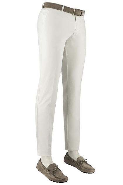 STRETCH WOVEN COTTON TROUSERS, White, medium