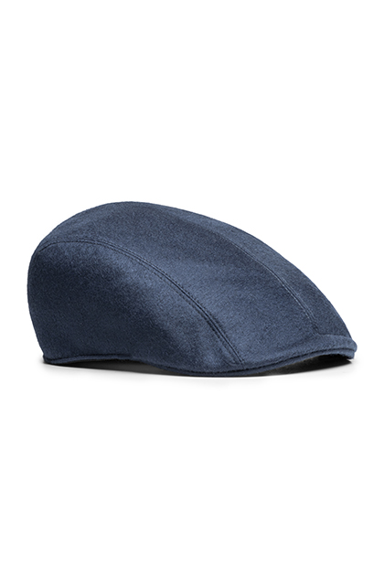 SHETLAND PURE CASHMERE FLAT CAP - MADE IN ITALY, Navy Blue, medium