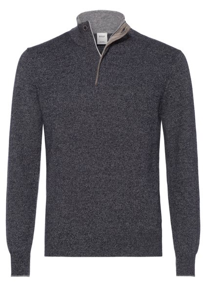 WOOL AND CASHMERE ZIP POLO NECK WITH ALCANTARA CUSTOM FIT, Grey - Blue, medium