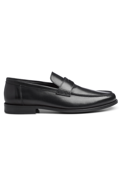 BLACK MOCCASIN IN LEATHER AND RUBBER, Black, medium