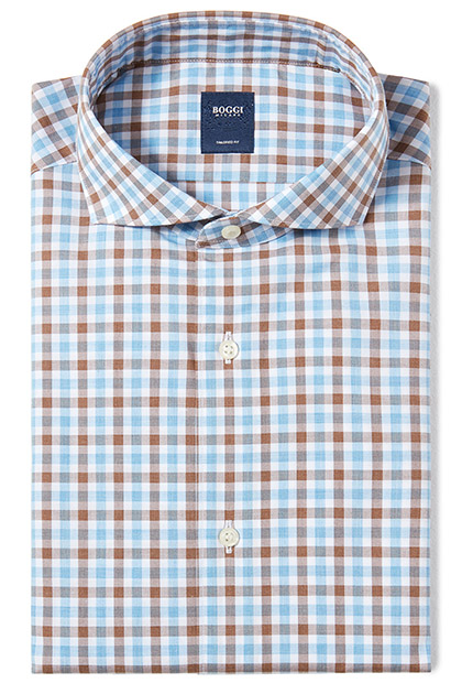 CAMICIA IN COTONE POPELINE COLLO NAPOLI TAILORED FIT, Azzurro - Moro, medium