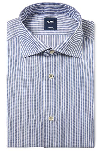 CAMICIA IN COTONE OPERATO COLLO WINDSOR TAILORED FIT, Blu, medium