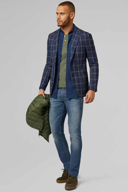 BLUE/GREEN WOOL, SILK AND LINEN ROMA BLAZER, BLUE - GREEN, medium