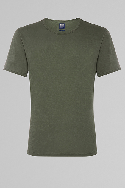 FLAMED COTTON JERSEY T-SHIRT, MILITARY GREEN, medium