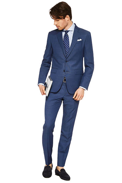 END-ON-END SUIT IN SUPER 130 WOOL, Bluette, medium