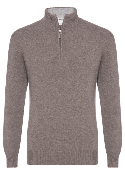 SUPERGEELONG WOOL ZIP POLO NECK CLASSIC FIT - MADE IN ITALY, Taupe (Turtle-Dove), medium
