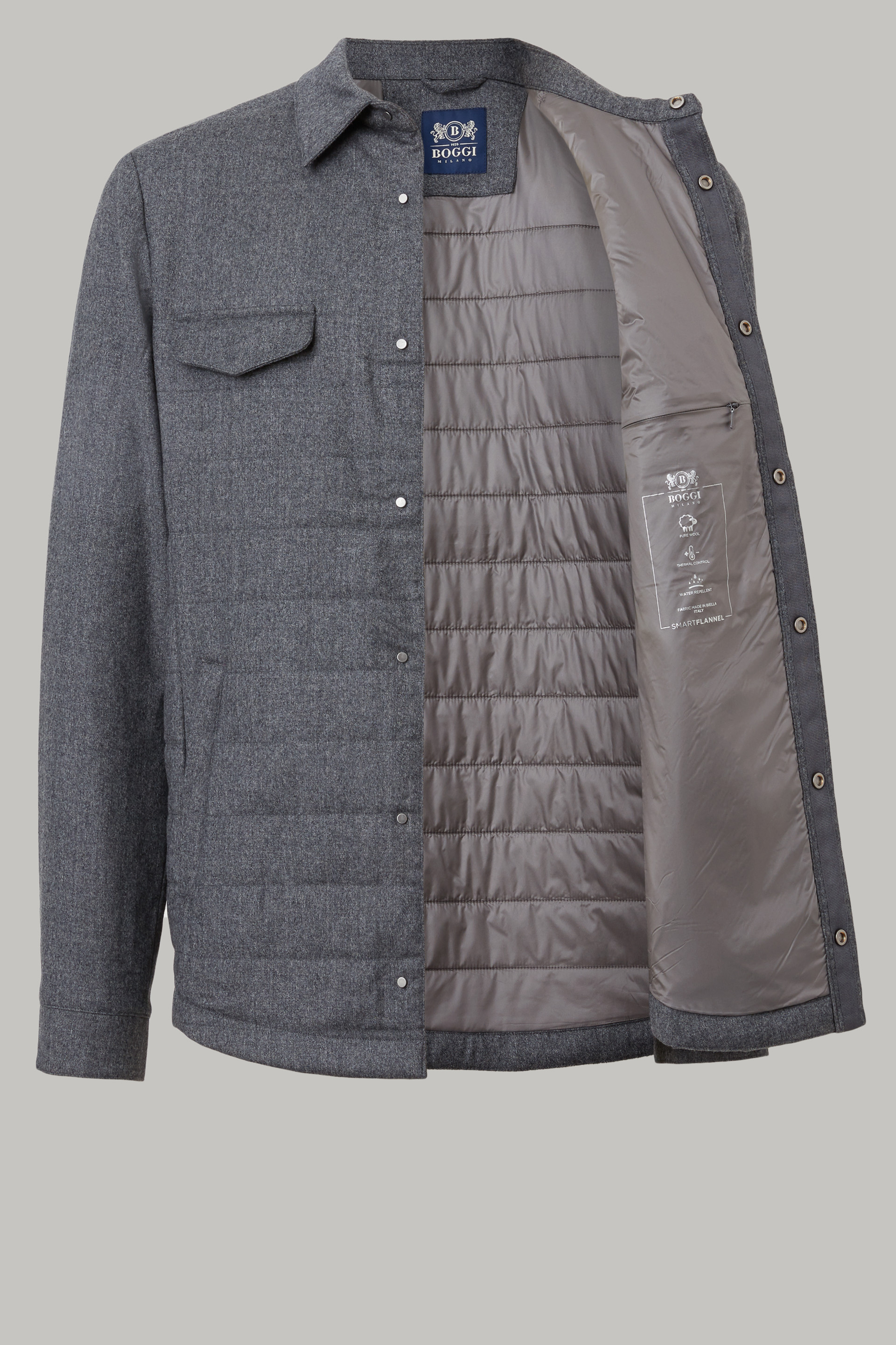 Quilted And Padded Flannel Shirt Jacket | Boggi