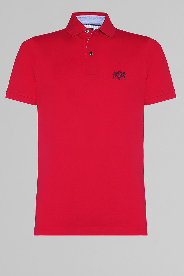 POLO ROSSA IN COTONE PIQUET, ROSSO, large