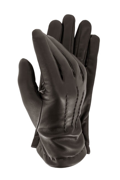 STRETCH LEATHER GLOVES - MADE IN ITALY, Brown, medium