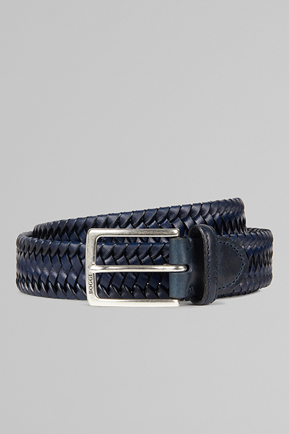 CINTURA ELASTICA INTRECCIATA IN PELLE, NAVY, medium