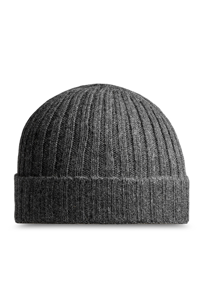 RIBBED PURE CASHMERE HAT - MADE IN ITALY, Charcoal, medium