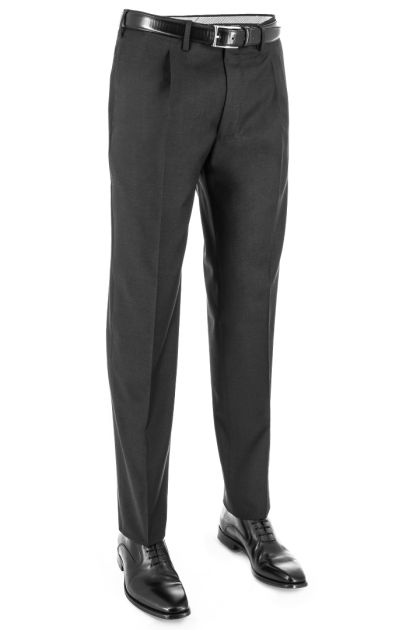 1 PINCE IN SUPER 130 PURE WOOL CLASSIC PANTS, Charcoal, medium