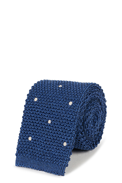 TRICOT A POIS IN LANA SETA, Blu, medium