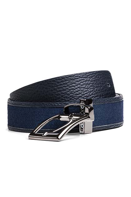 REVERSIBLE LEATHER AND DENIM BELT, Blu, medium