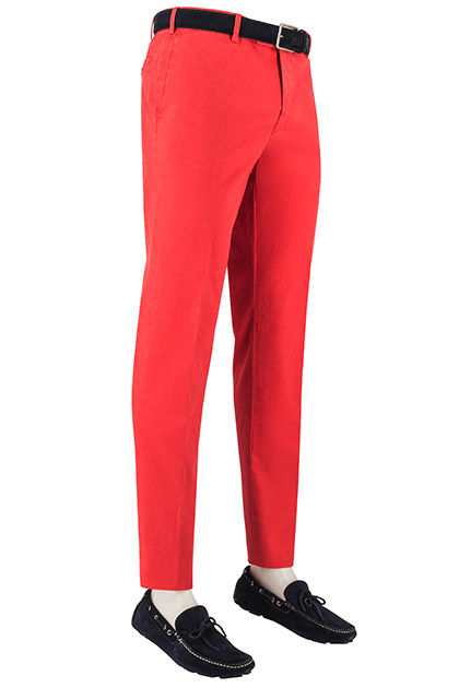 STRETCH COTTON/LINEN TROUSERS, Red, medium