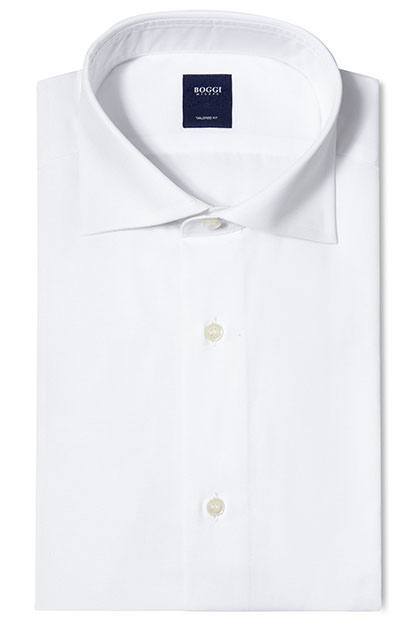 TAILORED FIT COTTON PIQUÉ SHIRT WITH WINDSOR COLLAR, White, medium