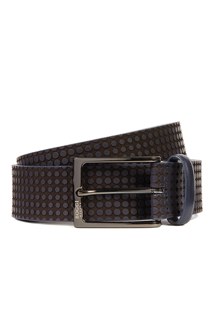 LASER ENGRAVED LEATHER BELT, NAVY - DARK BROWN, medium
